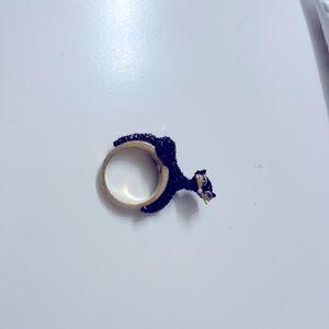Kate spade Black Cat Ring size 6 blue eyes
